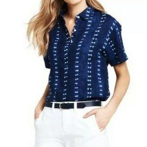 Lands End 100% Linen Shibori Print Pullover